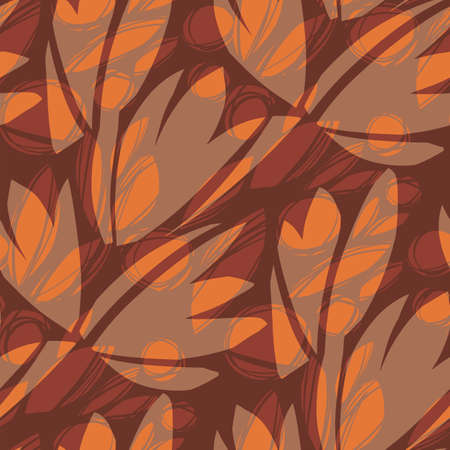 Bold big nature leaves decorative leaves seamless pattern for background, fabric, textile, wrap, surface, web and print design. Brown and orange modern autumn hand drawn rapport for textile and surface design.