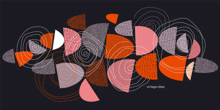 Horizontal abstract geometric shapes with texture in midcentury modern style for card, header, invitation, poster, social media, post publication.