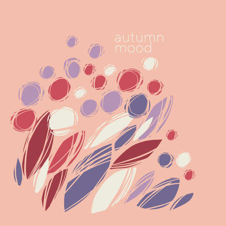 Autumn abstract plants and flowers in pastel violet and red. Fall nature elegant pale composition for card, header, invitation, poster, social media, post publication.