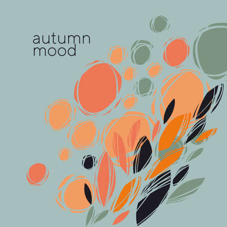 Autumn abstract plants and flowers in orange and teal. Fall nature elegant composition for card, header, invitation, poster, social media, post publication. 일러스트