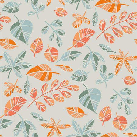 Elegant simple mosaic style autumn leaves seamless pattern for background, fabric, textile, wrap, surface, web and print design. Orange and gray-green foliage vector rapport for textile and surface design. 일러스트