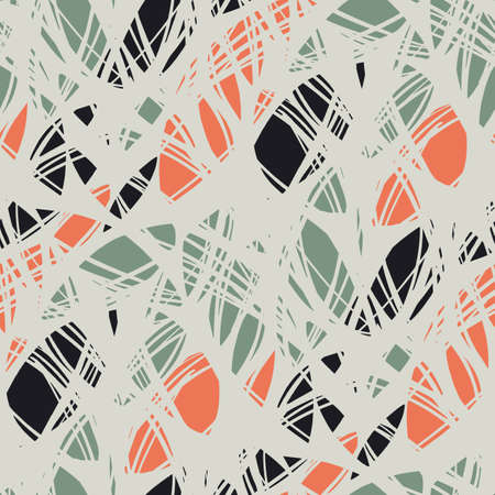 Abstract shabby hand drawn shapes seamless pattern for background, fabric, textile, wrap, surface, web and print design. orange, black and teal modern rapport for textile and surface design. 일러스트