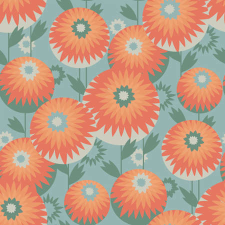 Autumn marigolds cute geometric flowers pattern seamless pattern for background, fabric, textile, wrap, surface, web and print design. Orange and gray-green autumn vector rapport for textile and surface design. 일러스트