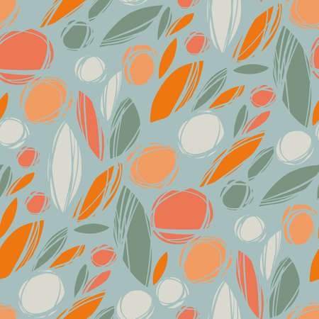 Autumn abstract plants and flowers seamless pattern for background, fabric, textile, wrap, surface, web and print design. orange and teal bio shapes rapport for textile and surface design.
