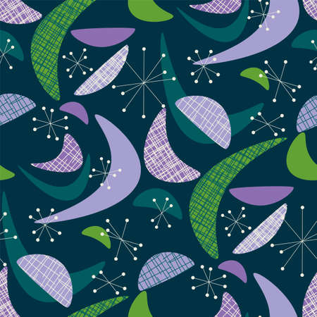 Abstract geometric shapes in midcentury modern style seamless pattern for background, fabric, textile, wrap, surface, web and print design. Violet and green xmas vibes vector rapport for textile. 일러스트