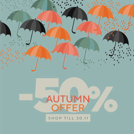 Autumn colorful umbrellas composition. Fall design element for card, header, invitation, poster, social media, post publication. Orange and gray-green autumn weather vector
