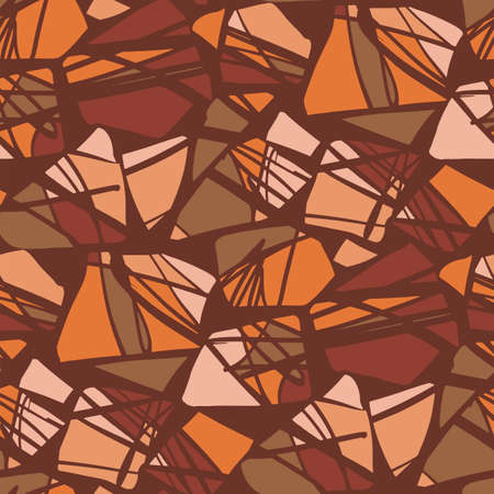 Abstract terrazzo terracotta stones seamless pattern for background, fabric, textile, wrap, surface, web and print design. orange and brown modern geometric rapport for textile and surface design.