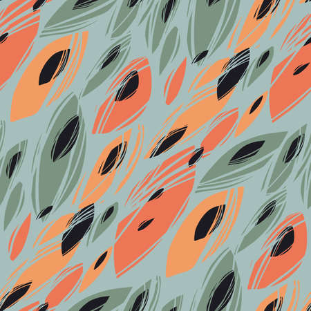 Autumn abstract leaves seamless pattern for background, fabric, textile, wrap, surface, web and print design. orange and teal bio shapes rapport for textile and surface design.
