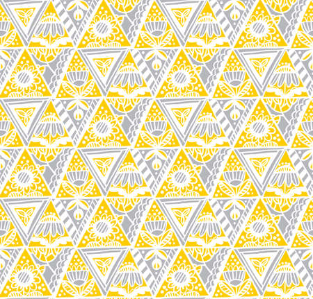 Abstract hand drawn floral seamless pattern in yellow and gray 2021colors for background, fabric, textile, wrap, surface, web and print design. Textile vector tile rapport