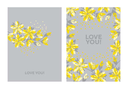 Spring flower blossom elements for card, header, invitation, poster, social media, post publication. Ilustração
