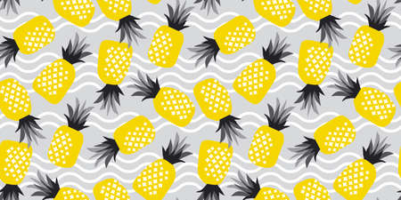 Pineapple ananas summer seamless pattern in yellow and gray 2021colors for background, fabric, textile, wrap, surface, web and print design. Textile vector tile rapport Ilustração
