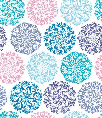 Elegant luxury baroque style snowflakes seamless pattern for background, fabric, textile, wrap, surface, web and print design. Textile vector tile rapport Ilustração