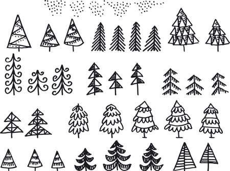 Assorted Xmas trees doodle sketch for card, header, invitation, poster, social media, post publication. Cute forest elements.