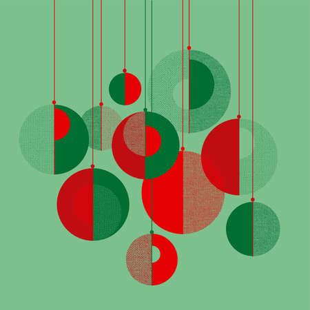 Abstract xmas decoration in red and green for card, header, invitation, poster, social, post publication. Geometric winter holiday elements. Christmas modern concept baubles geometric composition.
