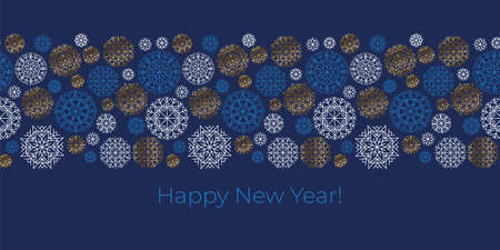 Xmas snowflakes frame in blue and gold for card, header, invitation, poster, social media, post publication, cut and sublimation print. Christmas greetings element Ilustração