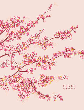 Sakura blossom poster for print and web. Spring floral vector element for card, headers, invitations. Traced hand drawn flowers branch sketch.