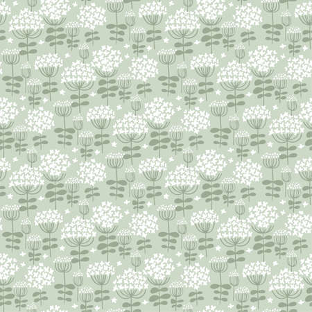 Floral seamless pattern in small white yarrow flowers. Ditsy floral background for fashion print. Seamless vector texture. Spring meadow rapport. Ilustração