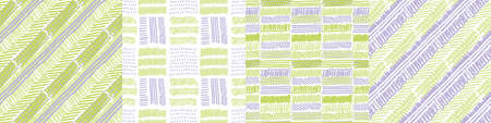 Hand drawn brush seamless pattern set in mint color. Textile vector tile rapport bunch for background, fabric, textile, wrap, surface, web and print design.