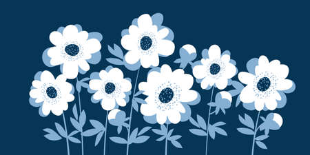 Laconic abstract peony flowers vector element for card, header, invitation, poster, social media, post publication. Blue and white marine mood decorative flowers.