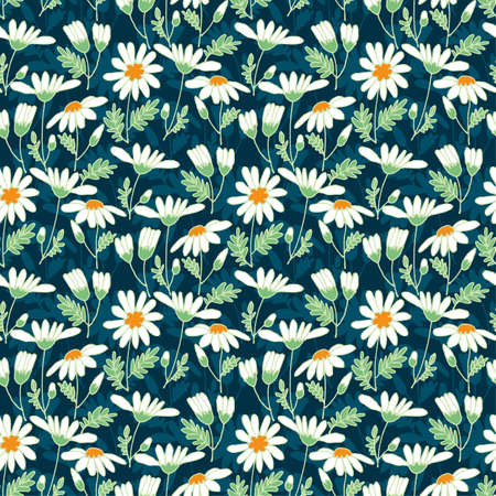 Cute daisy ditsy print. Chamomile romantic seamless pattern for background, fabric, textile, wrap, surface, web and print design. Summer fileld floral vector tile rapport.