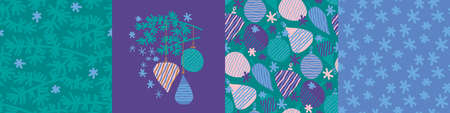 Naive cute winter holiday vector set in green and blue. Shabby Christmas patterns and elements for card, header, invitation, poster, social media, post publication. Boho style Christmas. Ilustração