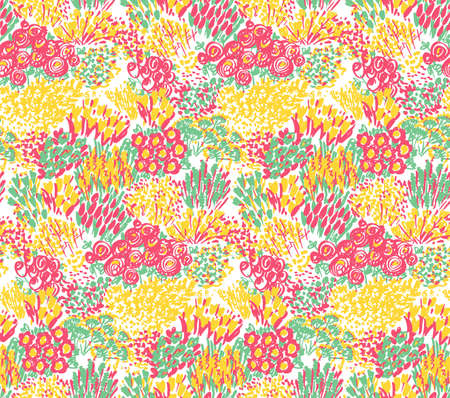 Spring shabby style floral seamless pattern. Summer lush flowerbed rapport for background, fabric, textile, wrap, surface, web and print. Hand drawn flowers pattern with roses, tulip, garden flowers.