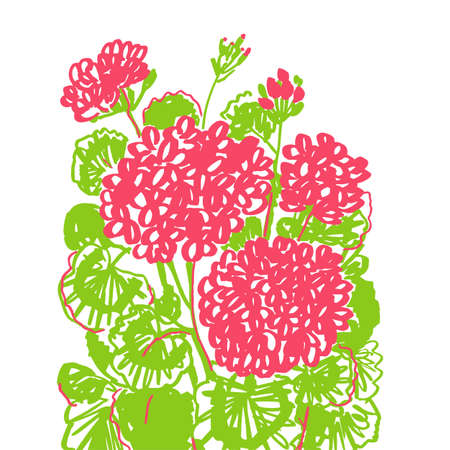Cosy home hand drawn geranium poster. Red and green vivid flowers rapport for card, header, invitation, poster, social media, post publication.. Hand drawn colorful flowers pattern.