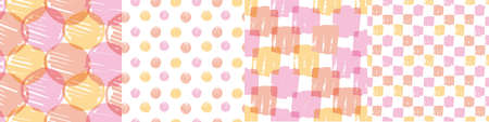 Hand drawn geometric pattern seamless pattern set in pink and yellow color. Textile vector tile rapport bunch for background, fabric, textile, wrap, surface, web and print design. Ilustração