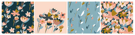Modern floral seamless patterns. Summer meadow flowers in decorative style. Vector design for paper, cover, fabric, interior decor, card, print and web.