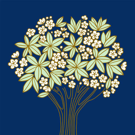 Plumeria tree with White flowers on night blue luxury background. Vector element for card, header, invitation, poster, social media, post publication.