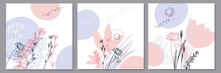 Modern laconic pastel flowers and grasses silhouette set. Vector decorative pale spring floral elements. Abstract flowers silhouette.