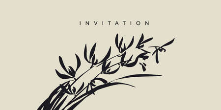 Decorative brush stroke wild orchid flowers element in asian style for card, header, invitation, poster, social media, post publication. Oriental vabi-sabi mood floral vector.