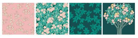 Tropical frangipani flower seamless pattern vector set. , Simple small plumeria floral elements for card, invitation, wedding, banner, web and print design. Ilustração