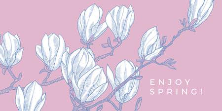 Spring blossom magnolia branch vector element for card, header, invitation, poster, social media, post publication.