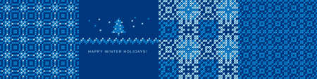 Simple laconic winter holiday seamless pattern set in blue color. Christmas surface vector tile rapport bunch for background, textile, fabric, textile, wrap, surface, web and print design.