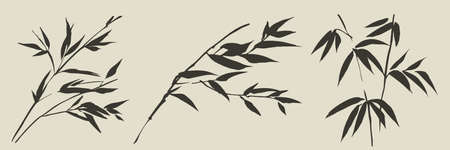 Loose hand drawn bamboo grass leaves and twigs set for card, header, invitation, poster, social media, post publication. Asia-style foliage vector bunch. Ilustração