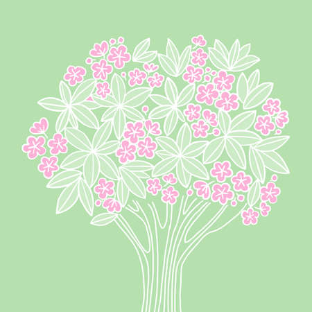 Plumeria flowers tree in romantic naive style for card, header, invitation, poster, social media, post publication. Ilustração