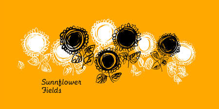 Monochrome abstract sunflower silhouette. Design element for web banners, posters, cards, wallpapers, backdrops, panels. Ilustração