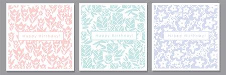 Elegant laconic pastel flowers silhouette pattern set. Vector decorative pale spring floral tile rapports. Abstract flowers silhouette. Ilustração