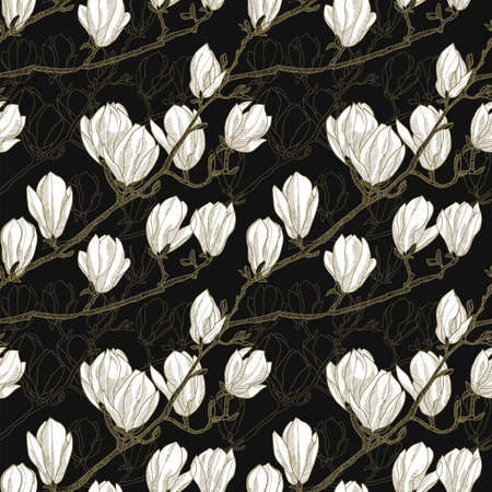 Blossom of magnolia flowers seamless pattern for background, fabric, textile, wrap, surface, web and print design. Luxury spring textile vector tile rapport