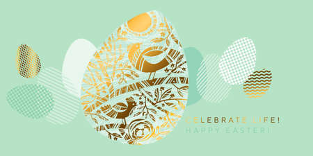 Spring birds Easter egg in tail green colors and gold. Fresh spring eggs in trendy geometric style for surface design, card, invitation, web and print projects. vector illustration with blossom tree branch. Ilustração