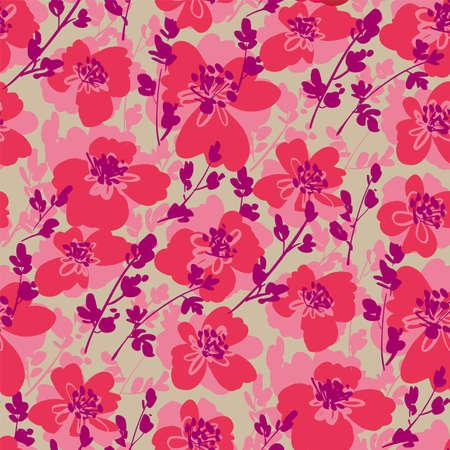 Bold pink floral summer seamless pattern for for background, fabric, textile, wrap, surface, web and print design. Textile vector tile rapport Ilustração