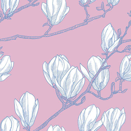 Spring blossom magnolia branch seamless pattern for background, fabric, textile, wrap, surface, web and print design. Textile vector tile rapport