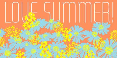 Fun bright shabby summer flowers for card, header, invitation, poster, social media, post publication. Hand drawn blue daisy floral pattern for summer projects. Ilustração