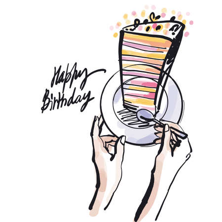 Big cake piece on plate and woman hands with teaspoon. Stylish fashion sketch for Birthday card. Black brush stroke and pastel color spots. Ilustração