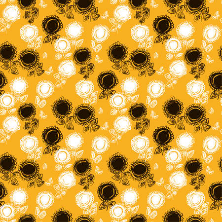 Abstract decorative sunflower seamless pattern for background, fabric, textile, wrap, surface, web and print design. Summer floral sketch vector tile rapport.