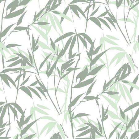 Hand drawn light bamboo leaves sketch seamless pattern. Foliage textile vector tile rapport for background, fabric, textile, wrap, surface, web and print design.