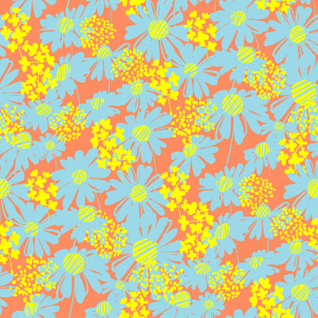 Vivid shabby summer floral seamless pattern for background, fabric, textile, wrap, surface, web and print design. Modern abstract festive vector rapport for fun summer projects. Ilustração