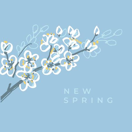 Spring blossom branch vector traced hand drawn element. Shabby sakura flowers for card, header, invitation, poster, social media, post publication. Ilustração