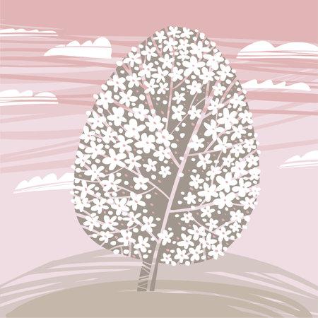 Easter concept spring tree blossom in egg shape for card, header, invitation, poster, social media, post publication. Ilustração